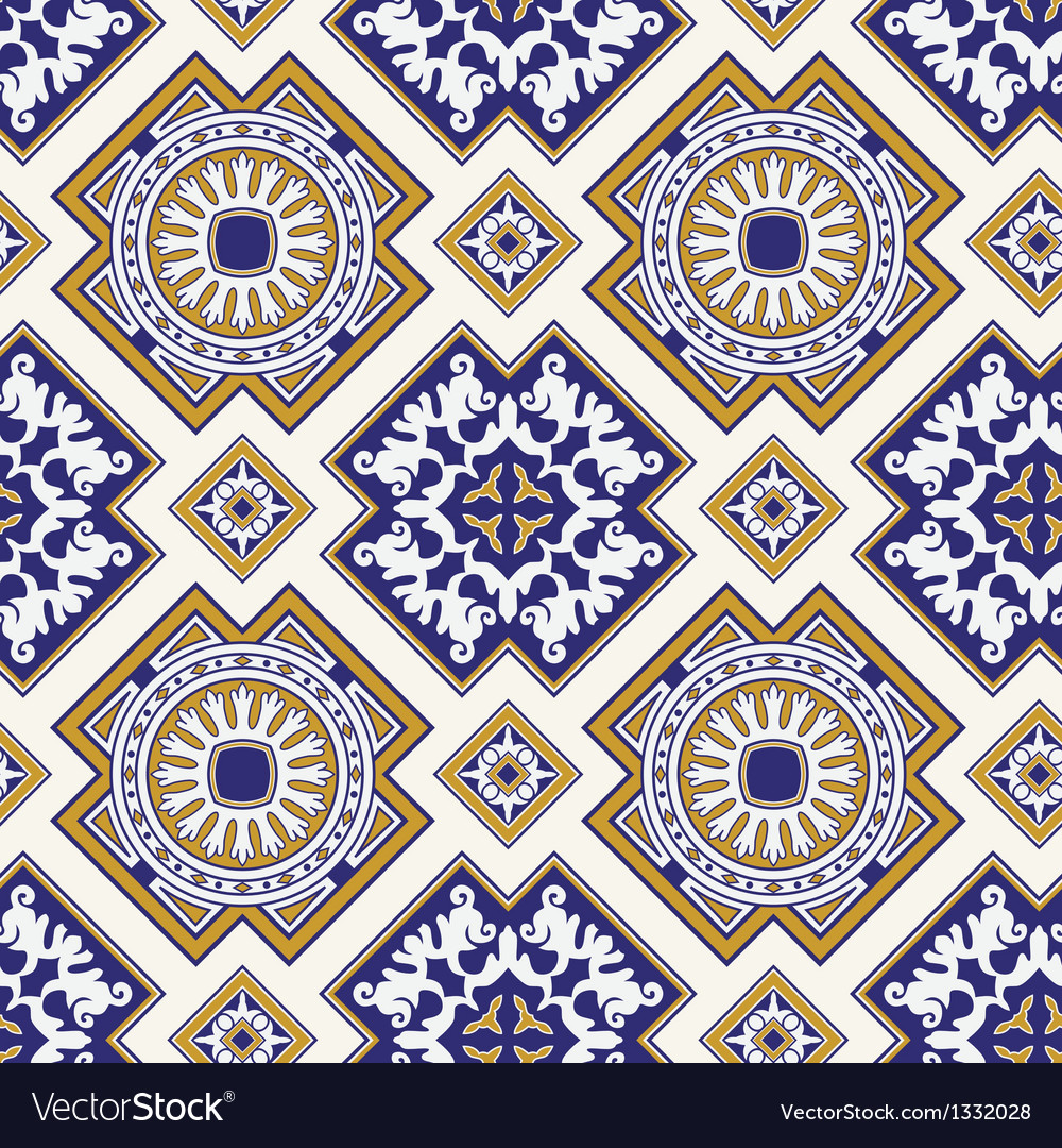 Classic vintage seamless pattern in blue vector | Price: 1 Credit (USD $1)
