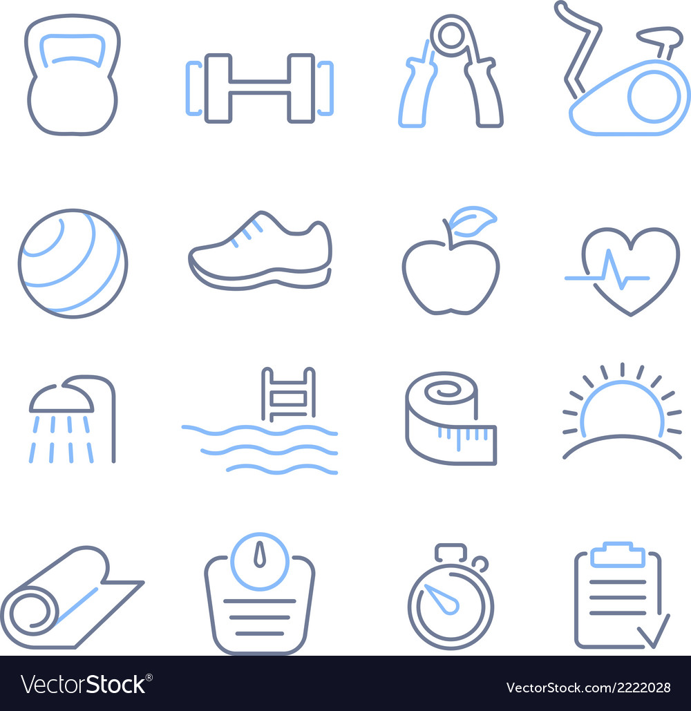 Fitness club icons set vector | Price: 1 Credit (USD $1)