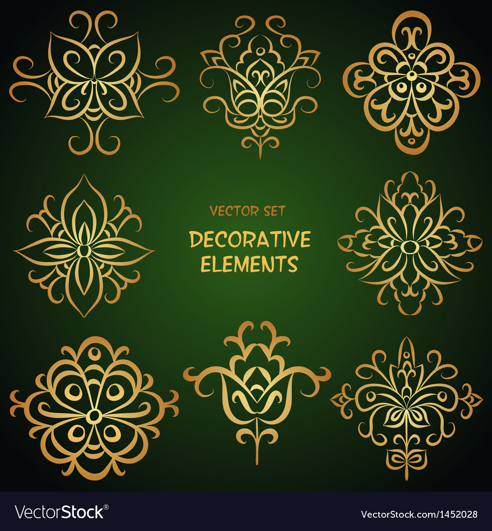 Golden ethnic elements vector | Price: 1 Credit (USD $1)