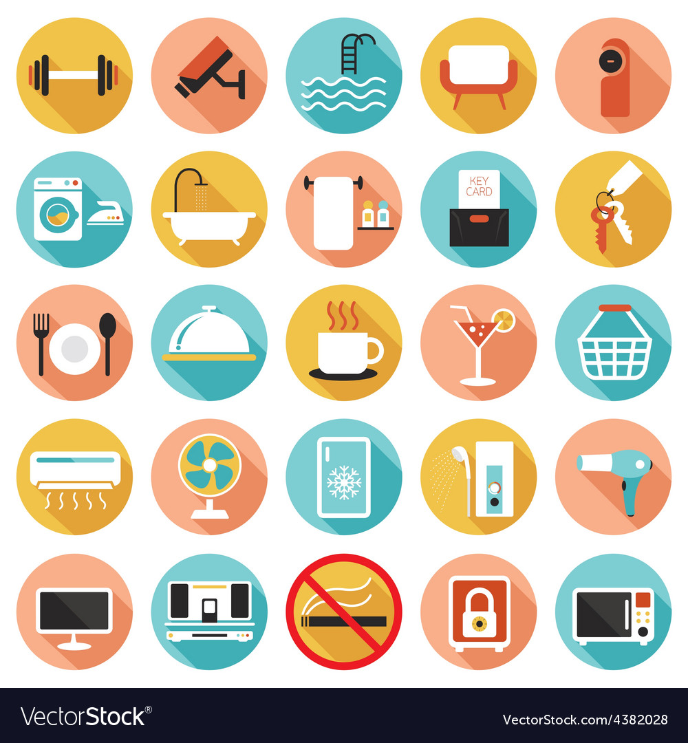 Hotel accommodation amenities services icons set b vector | Price: 1 Credit (USD $1)