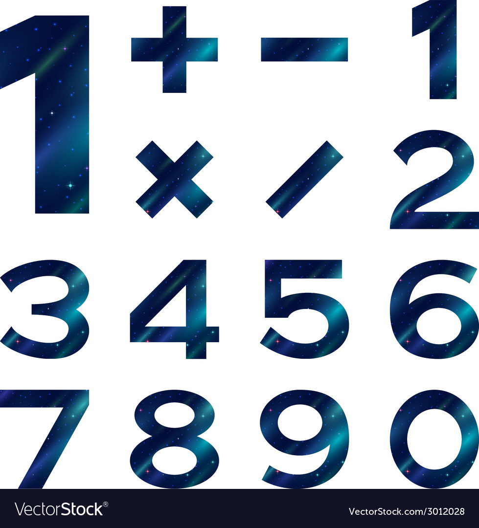 Numbers set blue space vector | Price: 1 Credit (USD $1)
