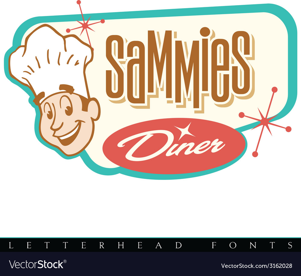 Retro diner logo with chef vector | Price: 1 Credit (USD $1)