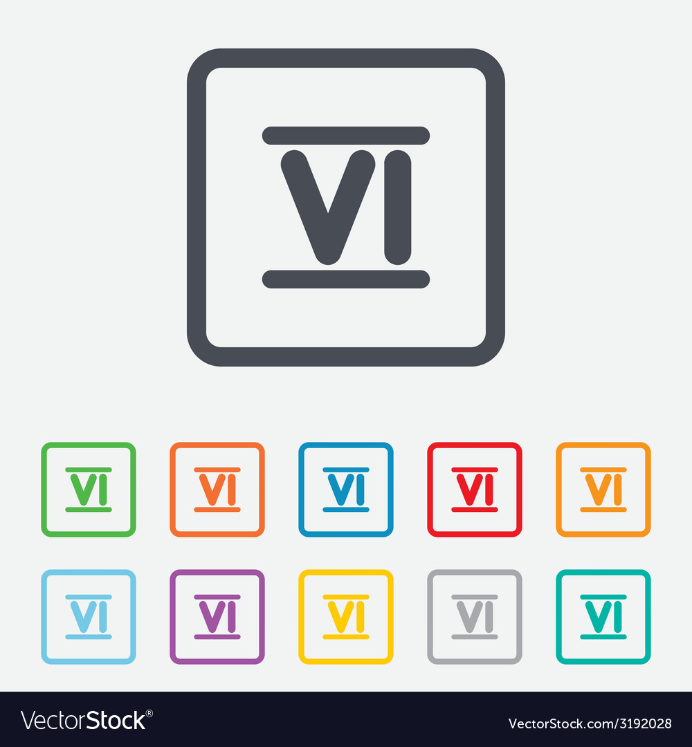 Roman numeral six icon roman number six sign vector | Price: 1 Credit (USD $1)