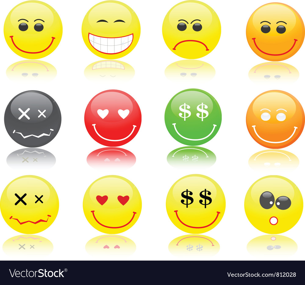 Round smiles in different mood vector | Price: 1 Credit (USD $1)
