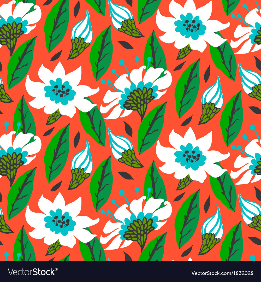 Seamless floral pattern with daisy flowers vector | Price: 1 Credit (USD $1)