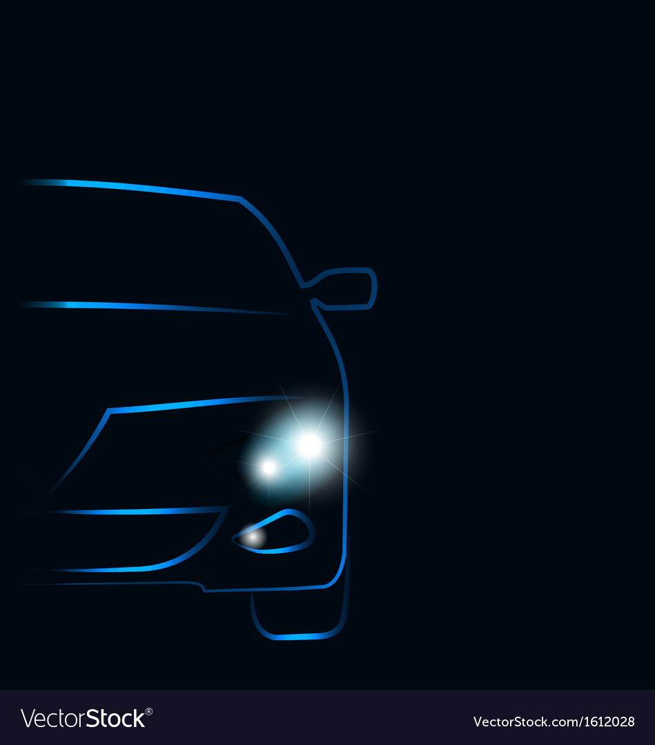 Silhouette of car with headlights in darkness vector | Price: 1 Credit (USD $1)