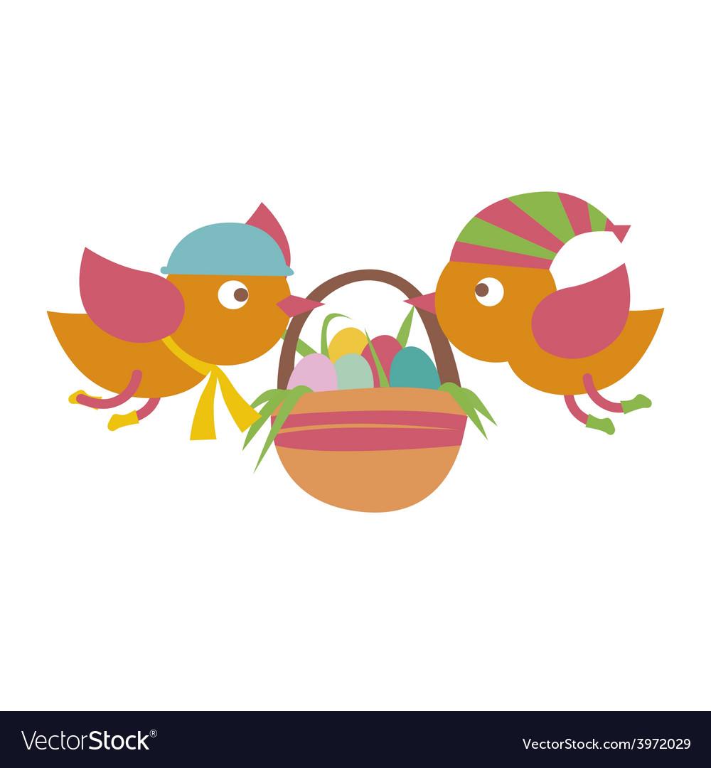 Birds with basket vector | Price: 1 Credit (USD $1)