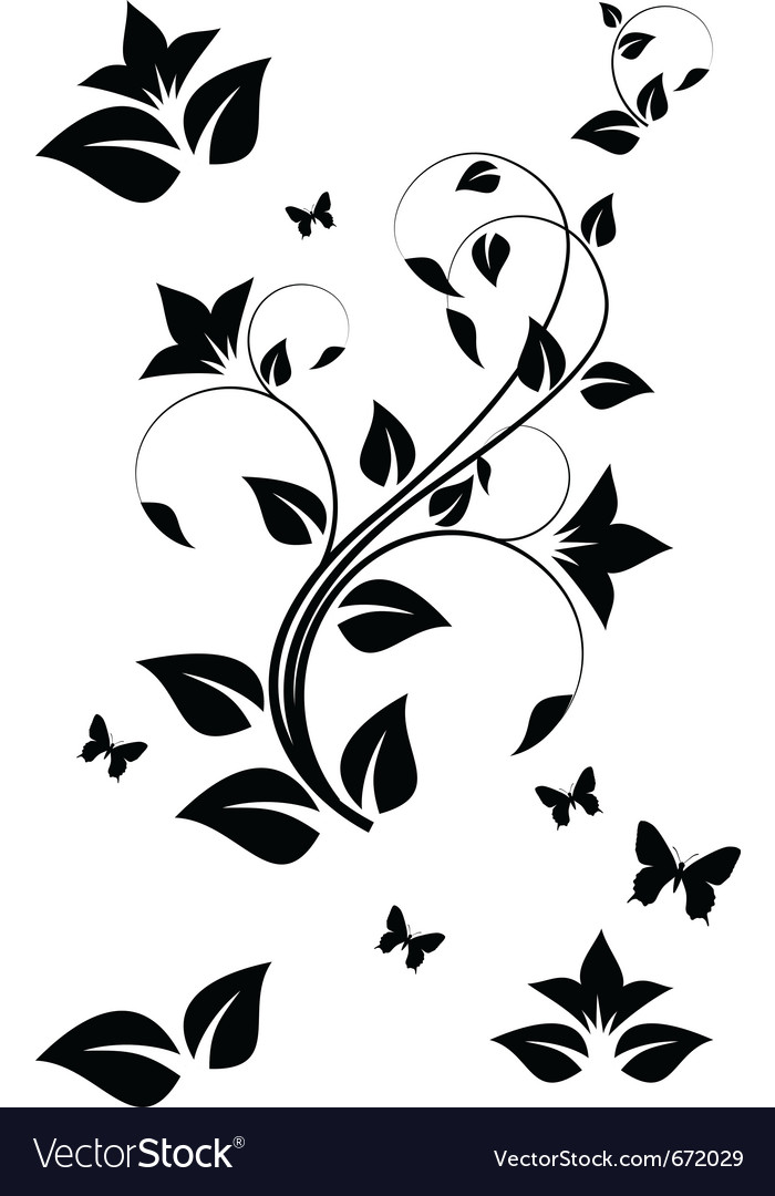 Black and white floral ornament vector | Price: 1 Credit (USD $1)