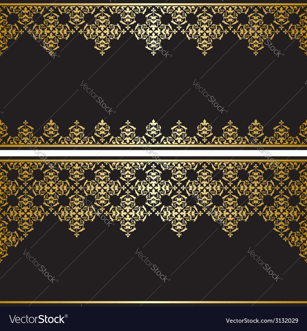 Black card with gold vintage ornament vector | Price: 1 Credit (USD $1)