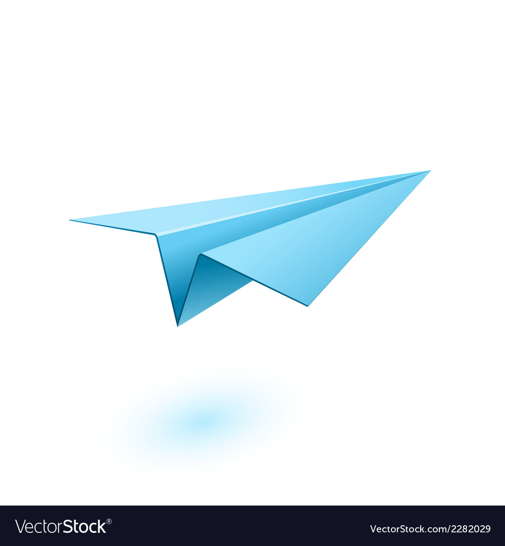Blue paper airplane vector | Price: 1 Credit (USD $1)