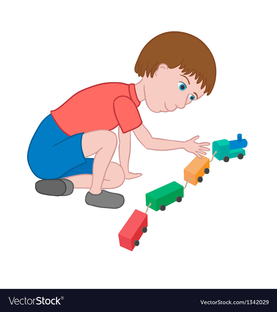 Boy playing with toy train vector | Price: 1 Credit (USD $1)