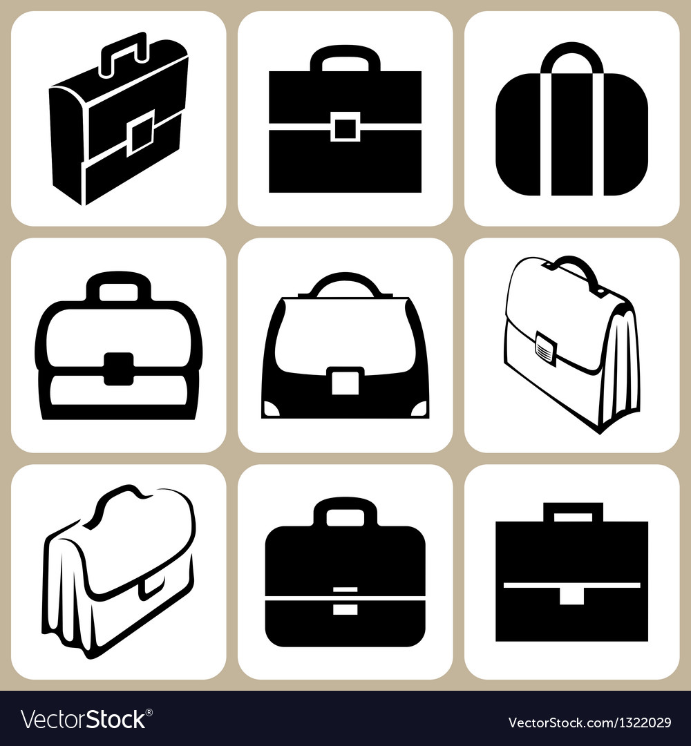Briefcase icons set vector | Price: 1 Credit (USD $1)