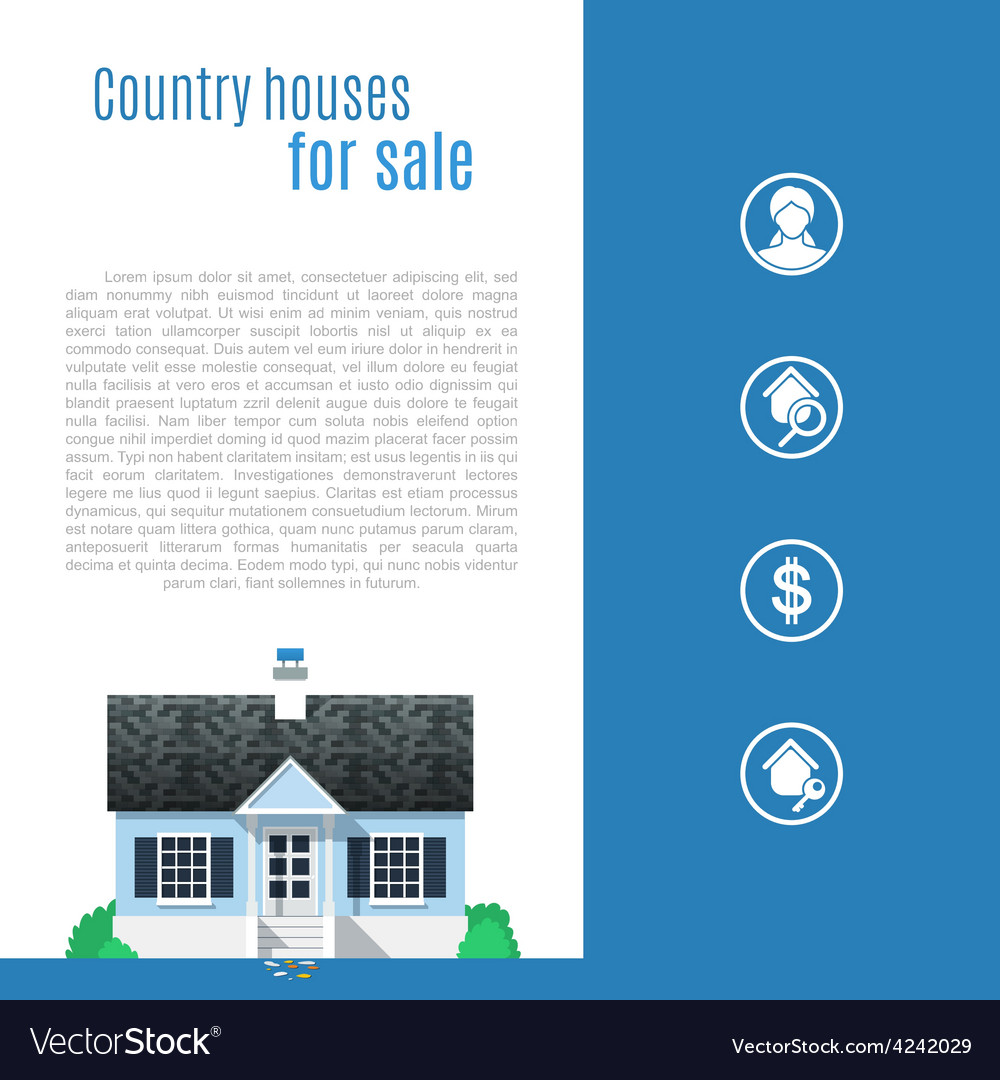 Cape cod country house in flat style vector | Price: 3 Credit (USD $3)