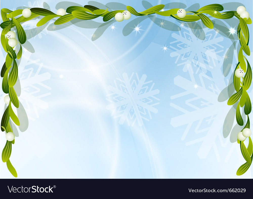 Christmas background with green mistletoe vector | Price: 1 Credit (USD $1)