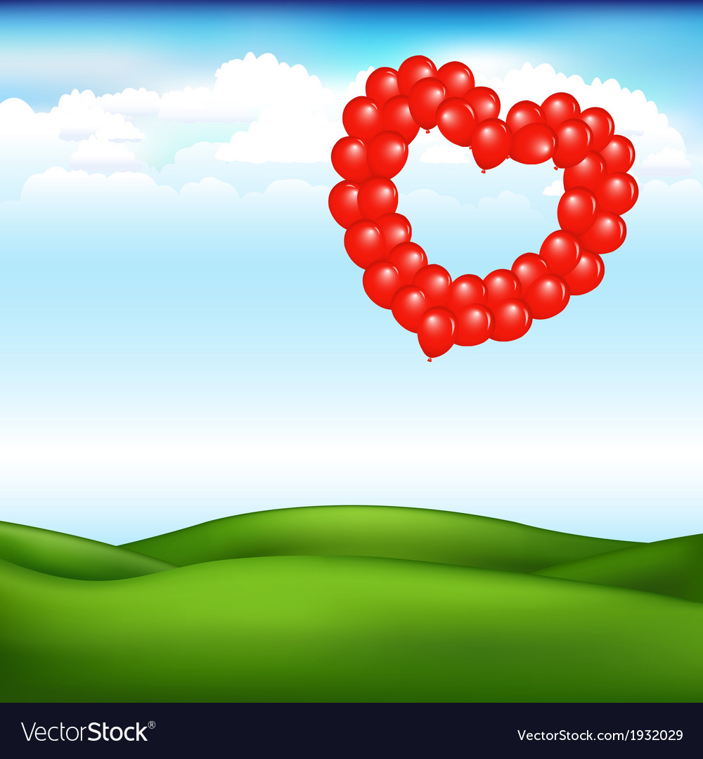 Landscape with balls in form of heart vector | Price: 1 Credit (USD $1)