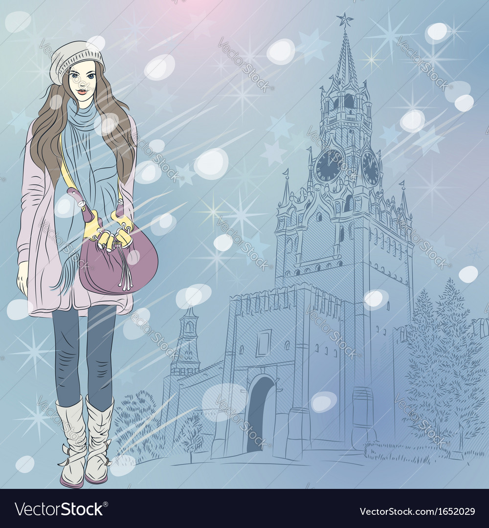 Lovely fashion girl in christmas winter cityscape vector | Price: 1 Credit (USD $1)