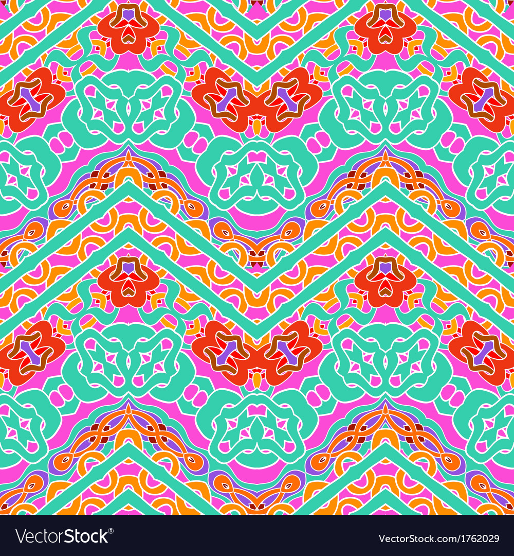 Multicolor pattern with ornamental zigzag lines vector | Price: 1 Credit (USD $1)