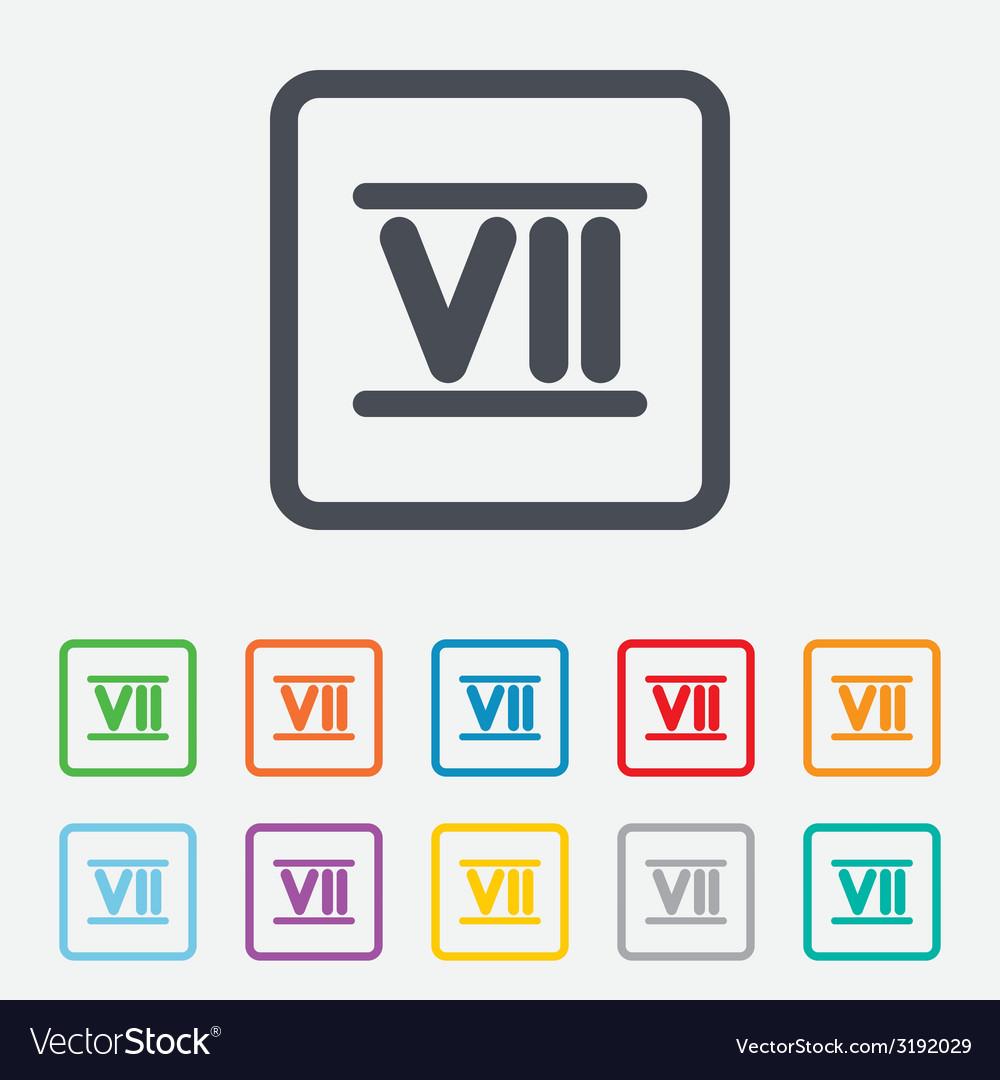 Roman numeral seven icon roman number seven sign vector | Price: 1 Credit (USD $1)
