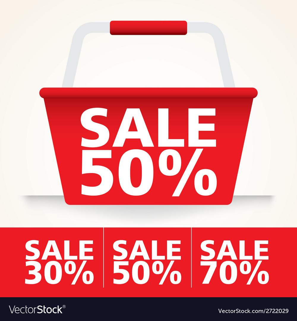 Sale basket red set vector   Price: 1 Credit (USD $1)
