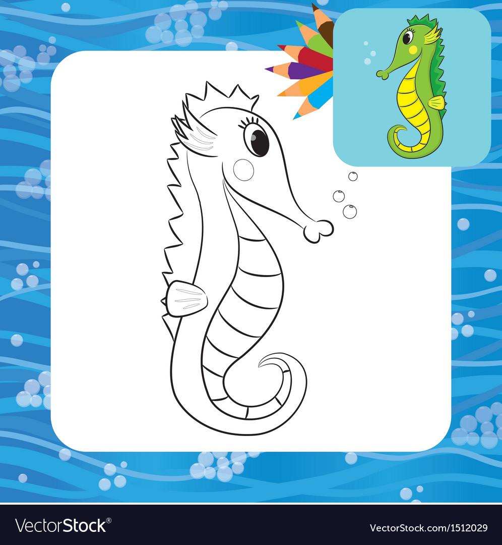 Sea horse coloring page vector | Price: 1 Credit (USD $1)