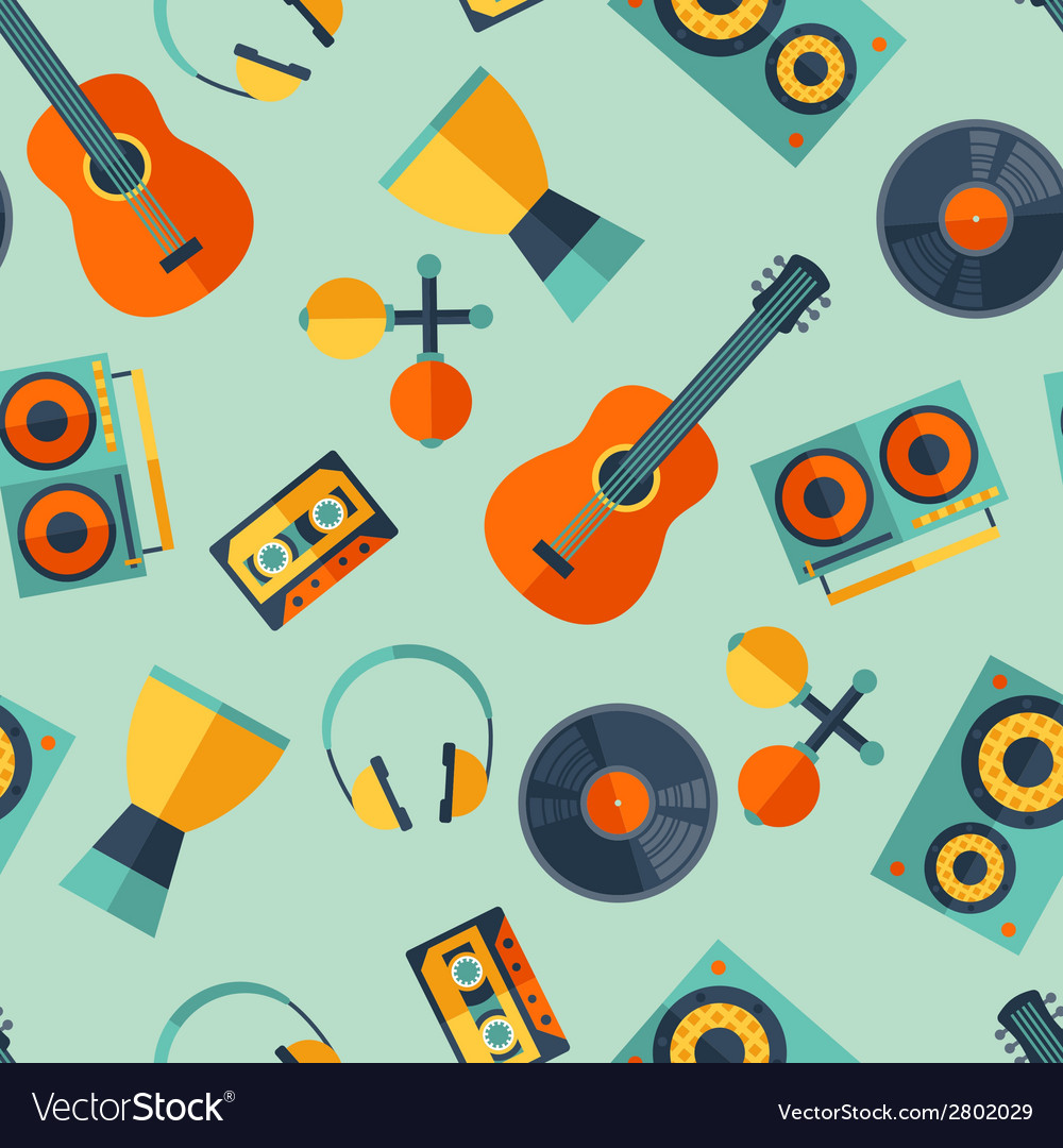 Seamless pattern with musical instruments in flat vector | Price: 1 Credit (USD $1)