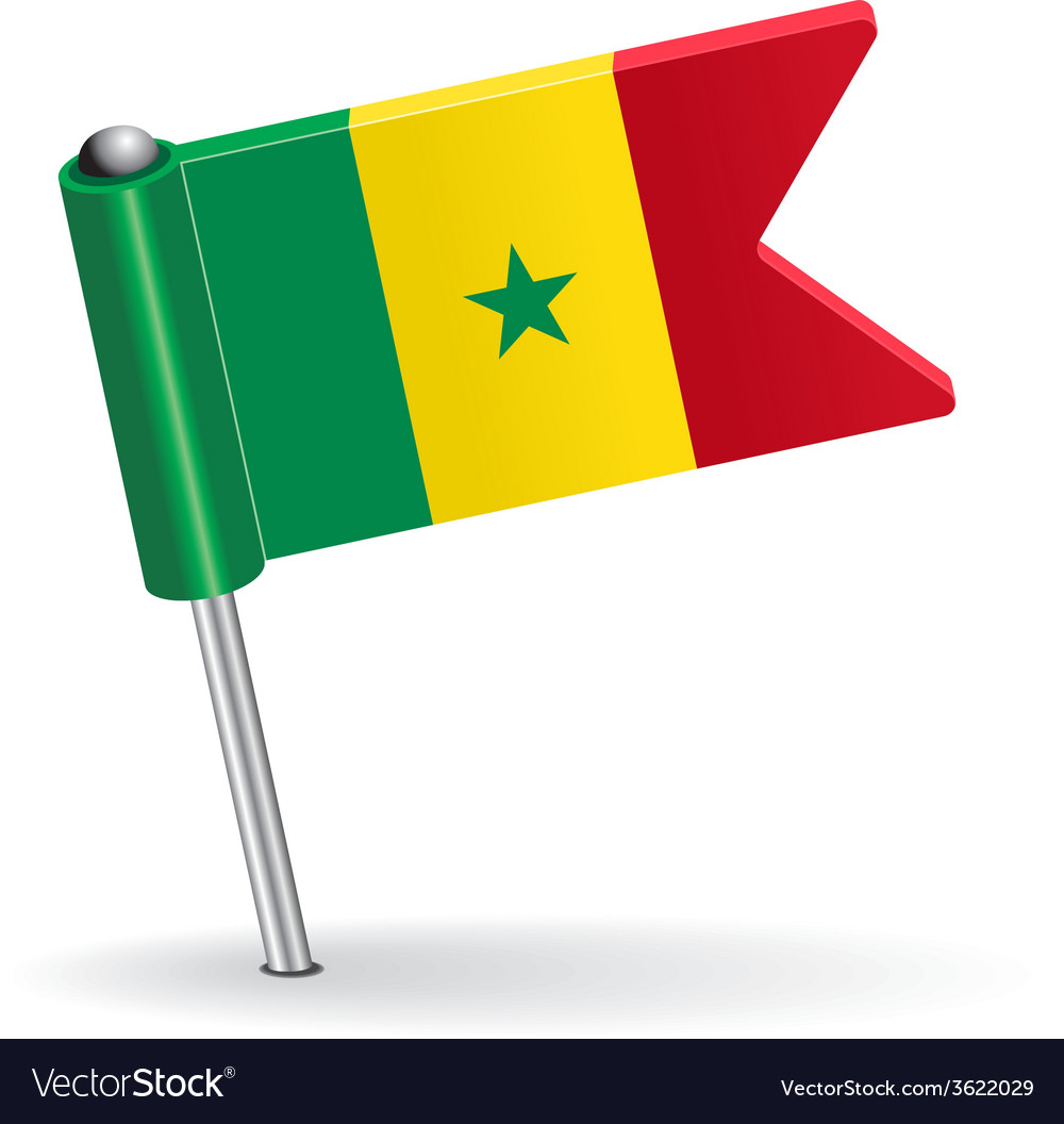Senegal pin icon flag vector | Price: 1 Credit (USD $1)