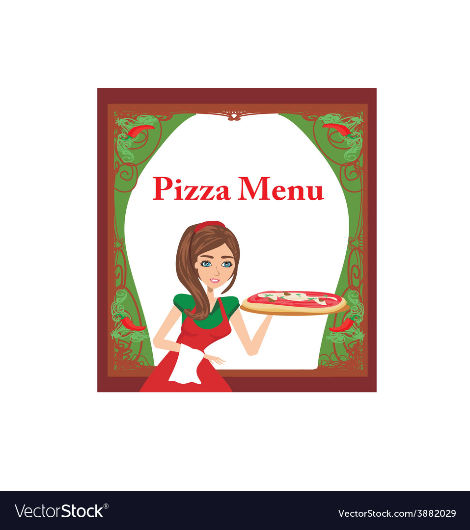 Smiling waitress serving pizza menu card vector | Price: 1 Credit (USD $1)