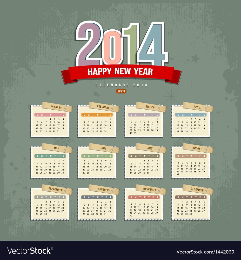 2014 calendar paper design vector | Price: 1 Credit (USD $1)
