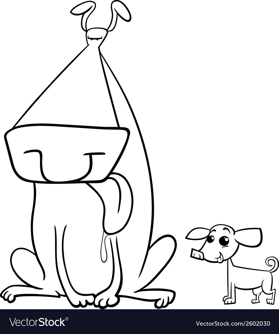 Big and small dogs coloring page vector | Price: 1 Credit (USD $1)