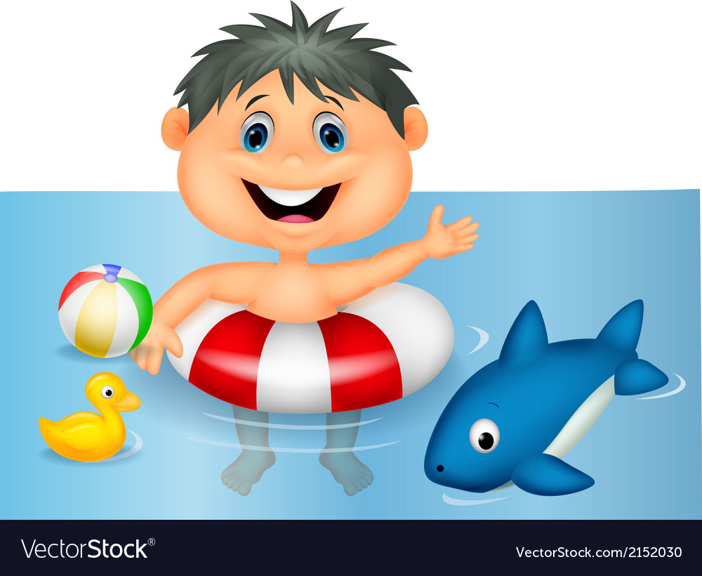 Boy cartoon floating with inflatable ring vector | Price: 1 Credit (USD $1)