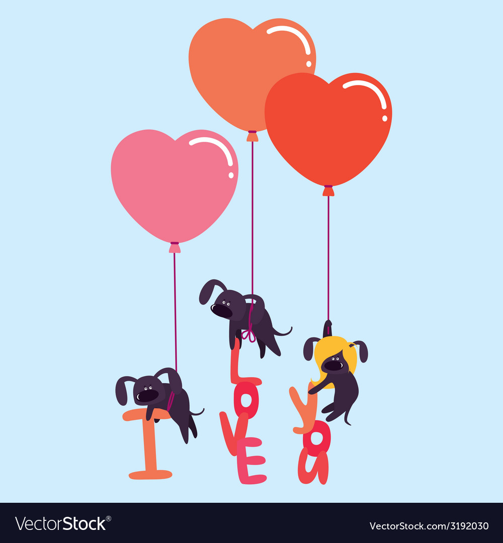 Cute valentine with dogs vector | Price: 1 Credit (USD $1)