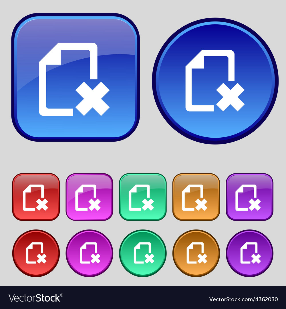Delete file document icon sign a set of twelve vector | Price: 1 Credit (USD $1)