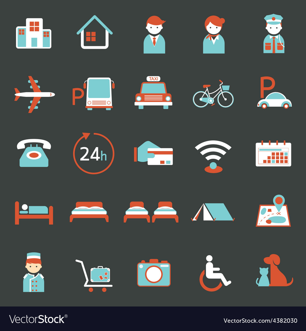 Hotel accommodation amenities services icons set a vector | Price: 1 Credit (USD $1)