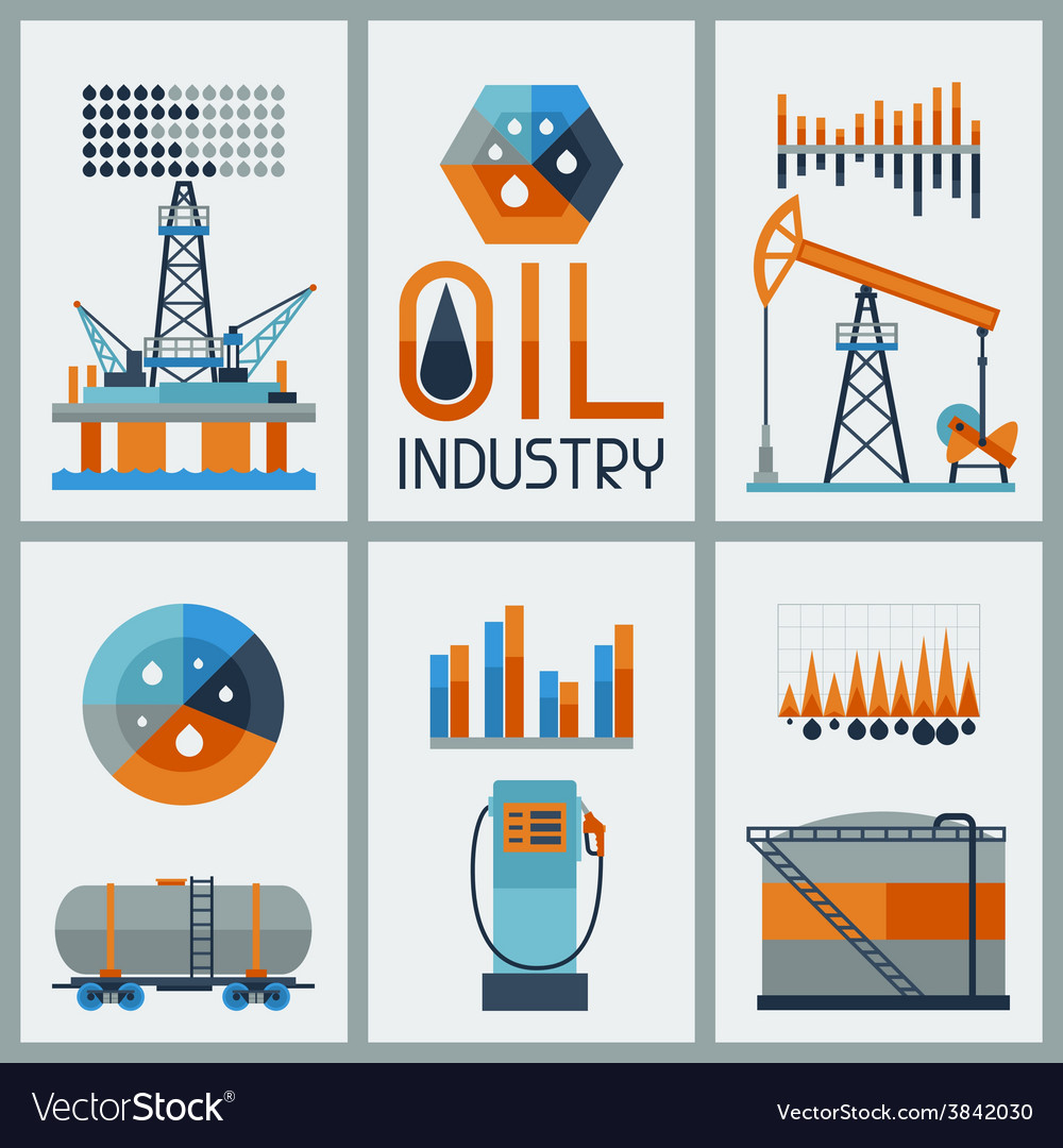 Industrial infographic design with oil and petrol vector | Price: 1 Credit (USD $1)