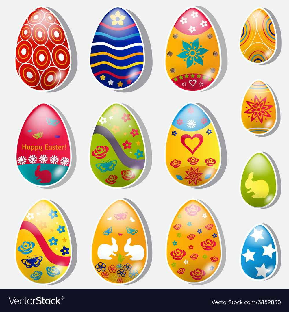 Set of paper easter eggs vector   Price: 1 Credit (USD $1)