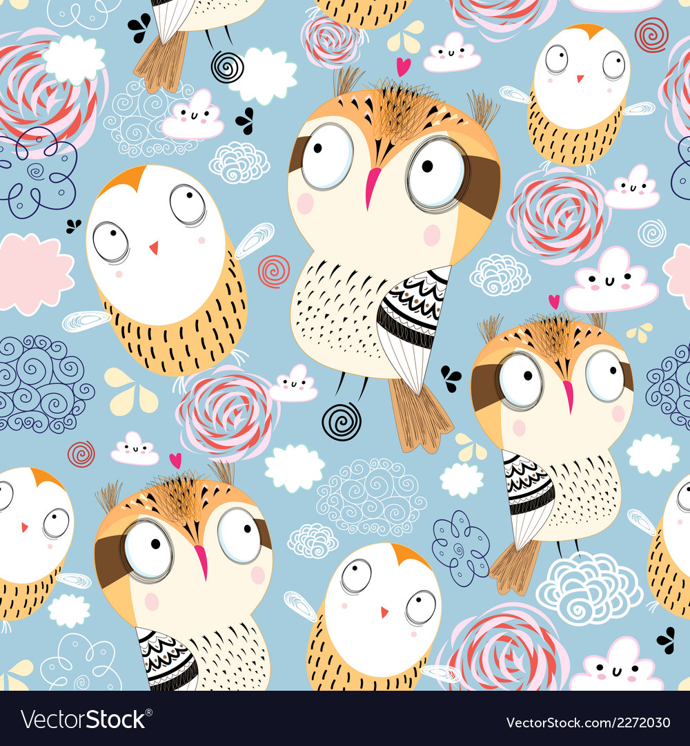 Texture owls in the clouds vector | Price: 1 Credit (USD $1)