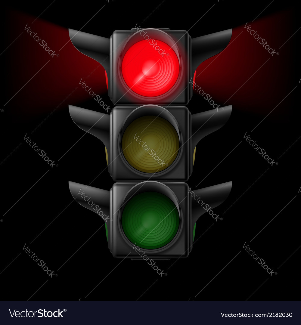 Traffic light with red on vector | Price: 1 Credit (USD $1)