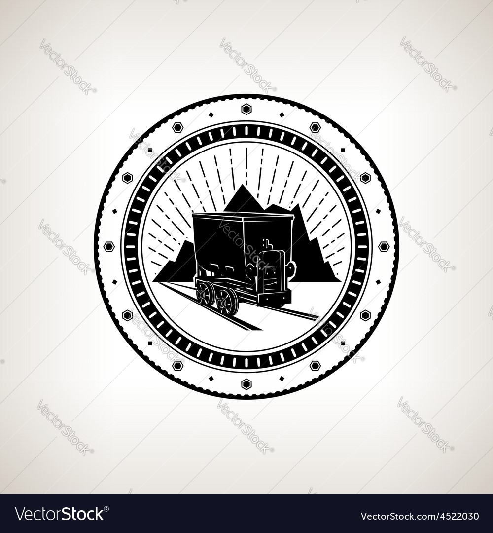 Vintage emblem of the mining industry vector | Price: 1 Credit (USD $1)