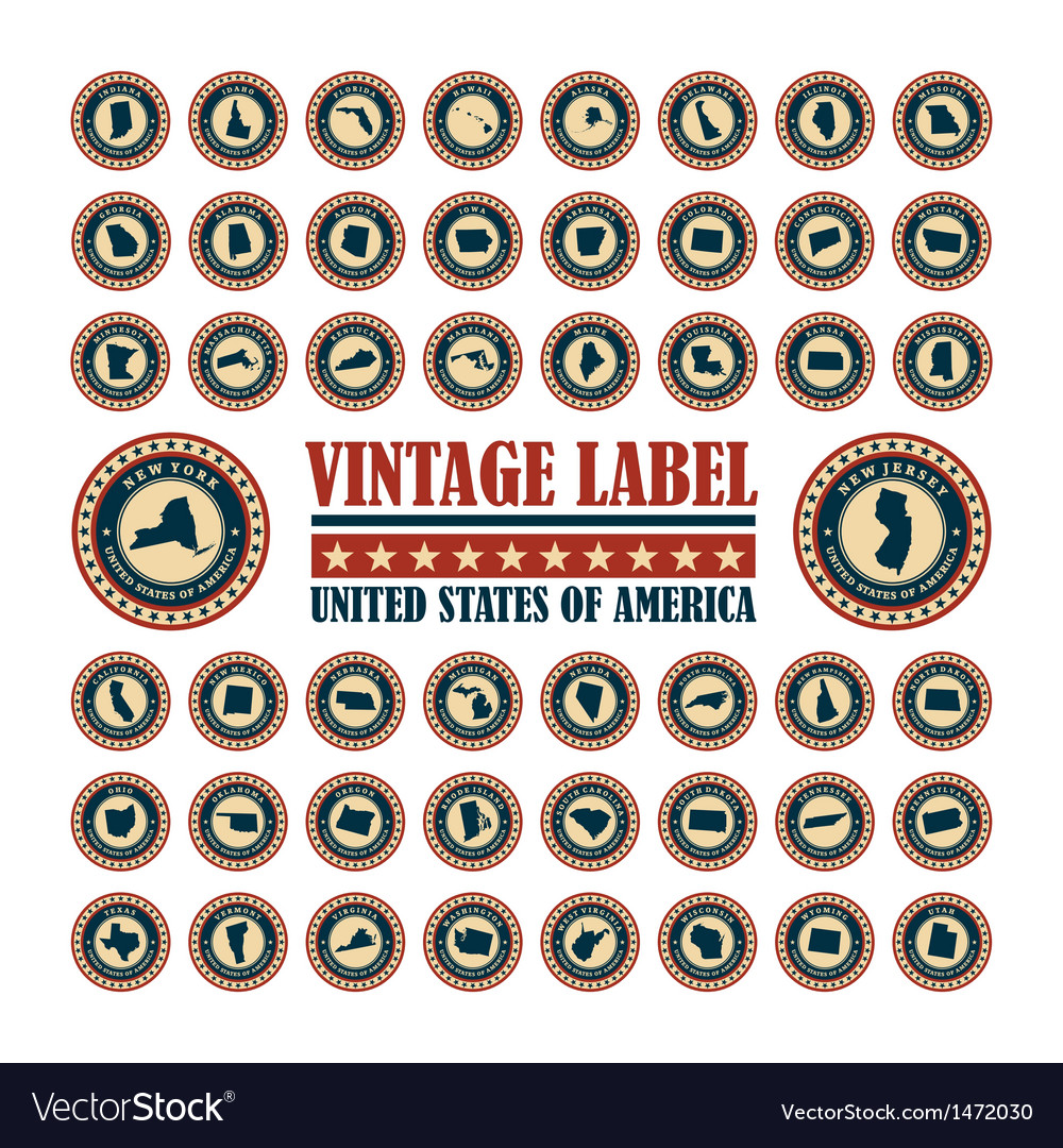 Vintage label usa set vector | Price: 3 Credit (USD $3)