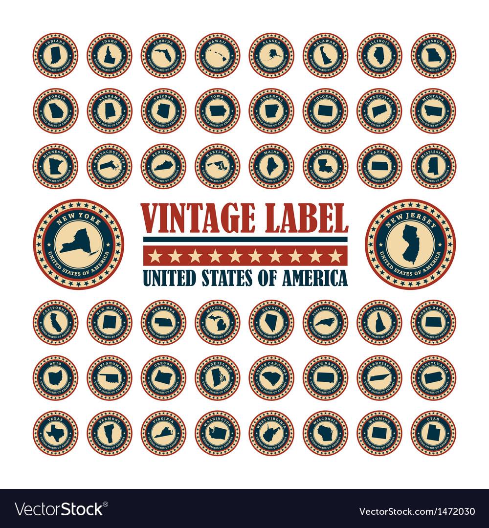 Vintage label usa set vector | Price: 3 Credit (USD $3)