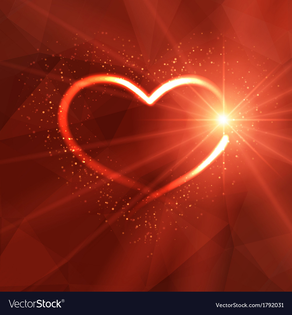 Background with luminous heart and lights vector | Price: 1 Credit (USD $1)