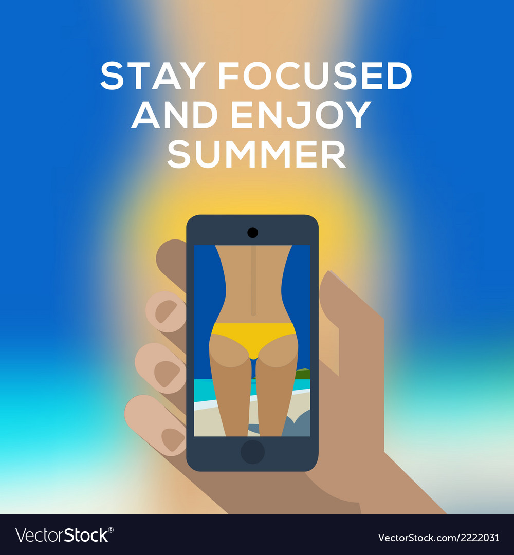 Beach concept hand holding smartphone and make vector | Price: 1 Credit (USD $1)