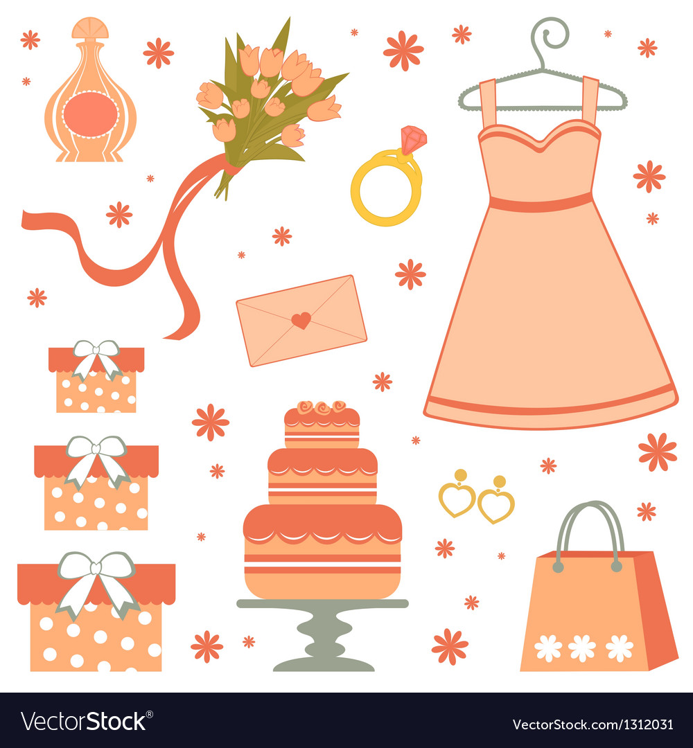 Bridal shower set vector | Price: 1 Credit (USD $1)