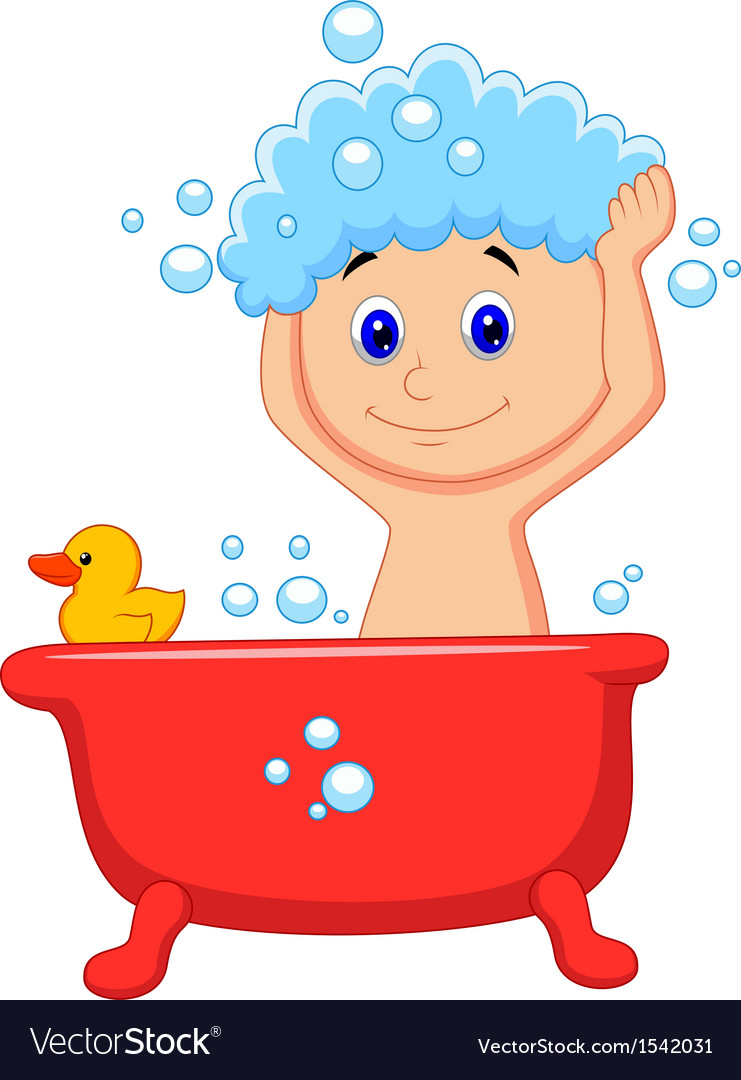 Cute cartoon boy having bath vector | Price: 1 Credit (USD $1)
