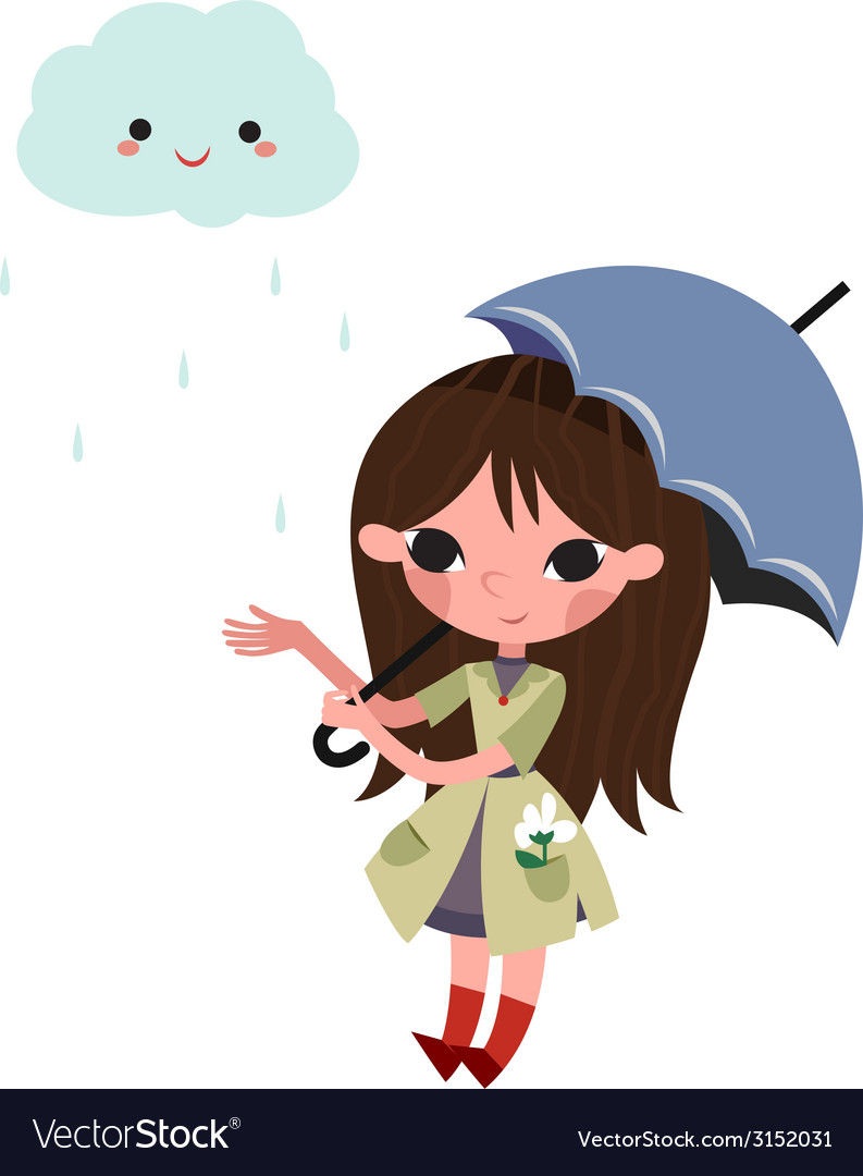 Girl with umbrella vector | Price: 1 Credit (USD $1)