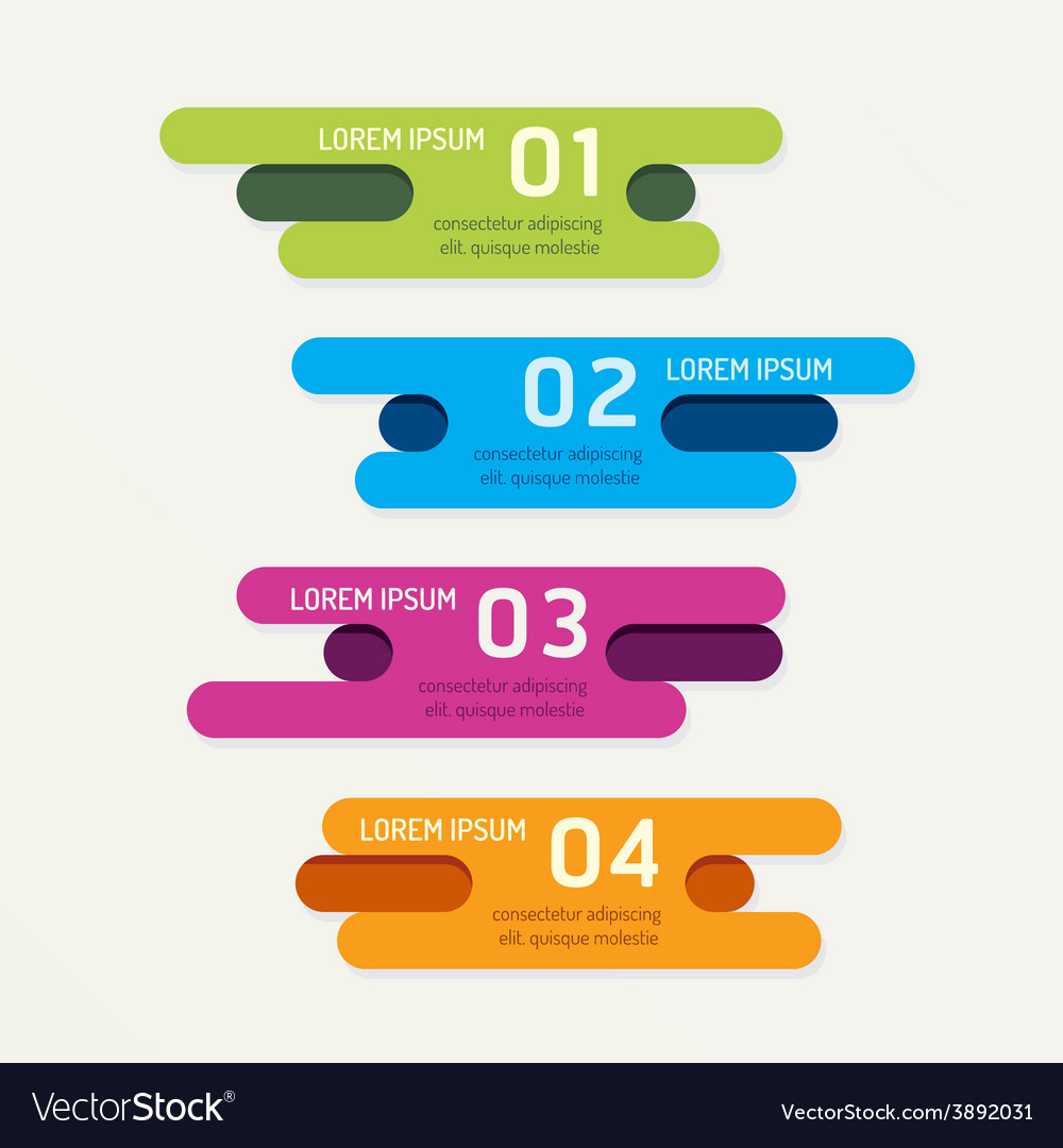 Progress banners with ribbon colorful tags vector | Price: 1 Credit (USD $1)
