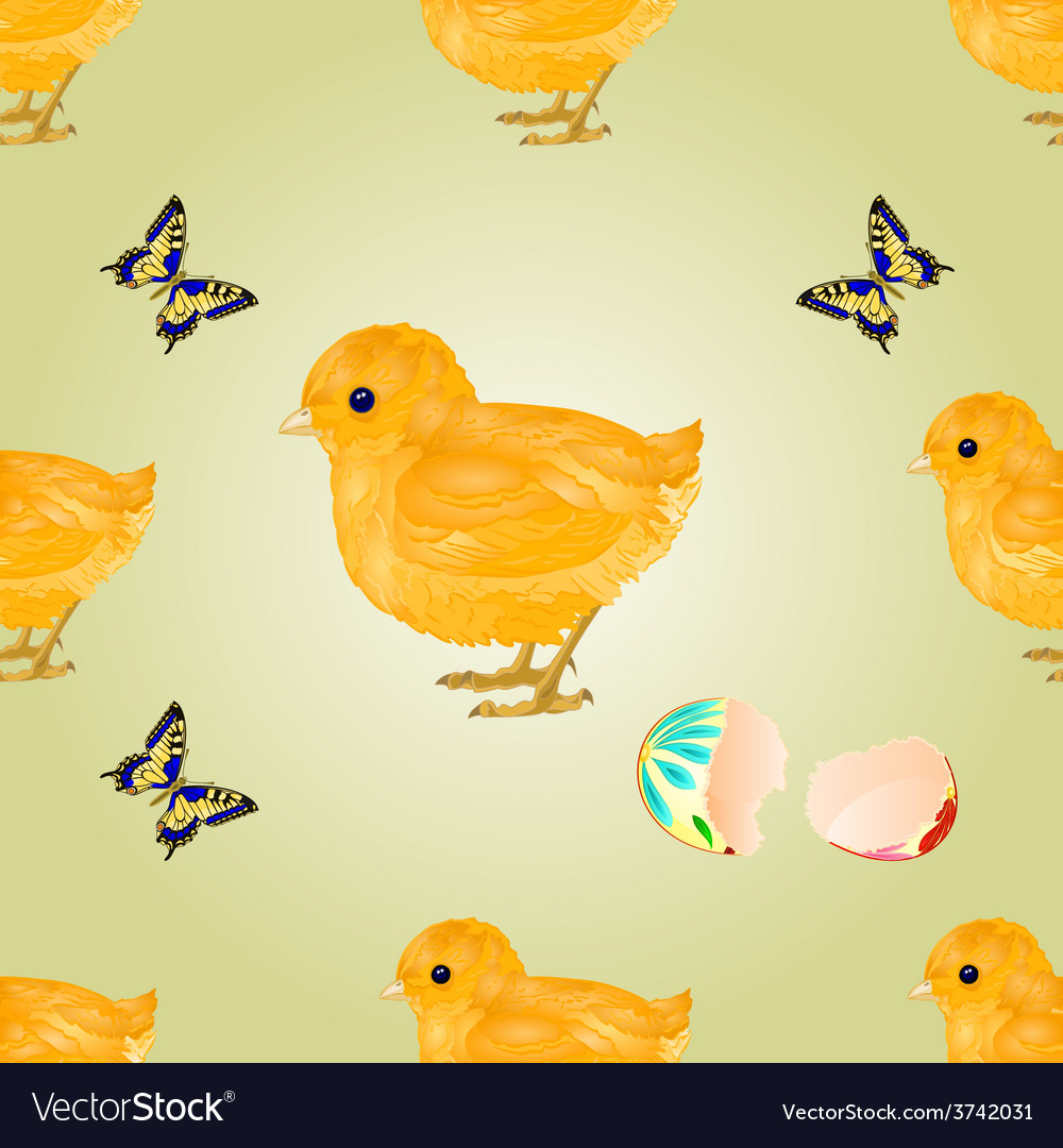Seamless texture easter chick easter background vector | Price: 1 Credit (USD $1)