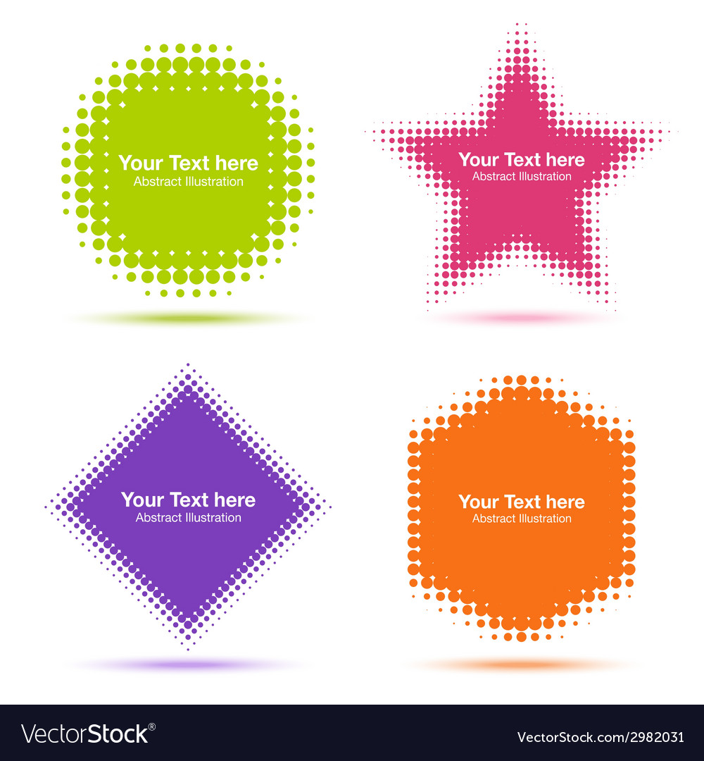 Set of modern flat halftone design elements vector | Price: 1 Credit (USD $1)