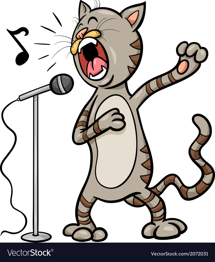 Singing cat cartoon vector | Price: 1 Credit (USD $1)