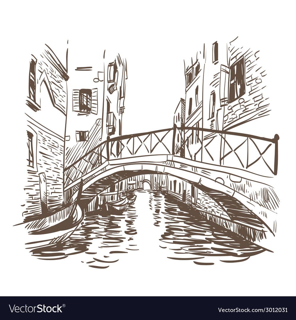 Venice cityscape drawing vector | Price: 1 Credit (USD $1)